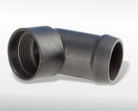 Connector with thread demoulding via  steep spindle