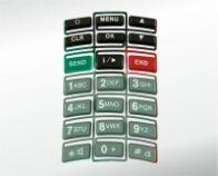 Handy-Tastatur, einteilig mit 21 Anspritzpunkten
