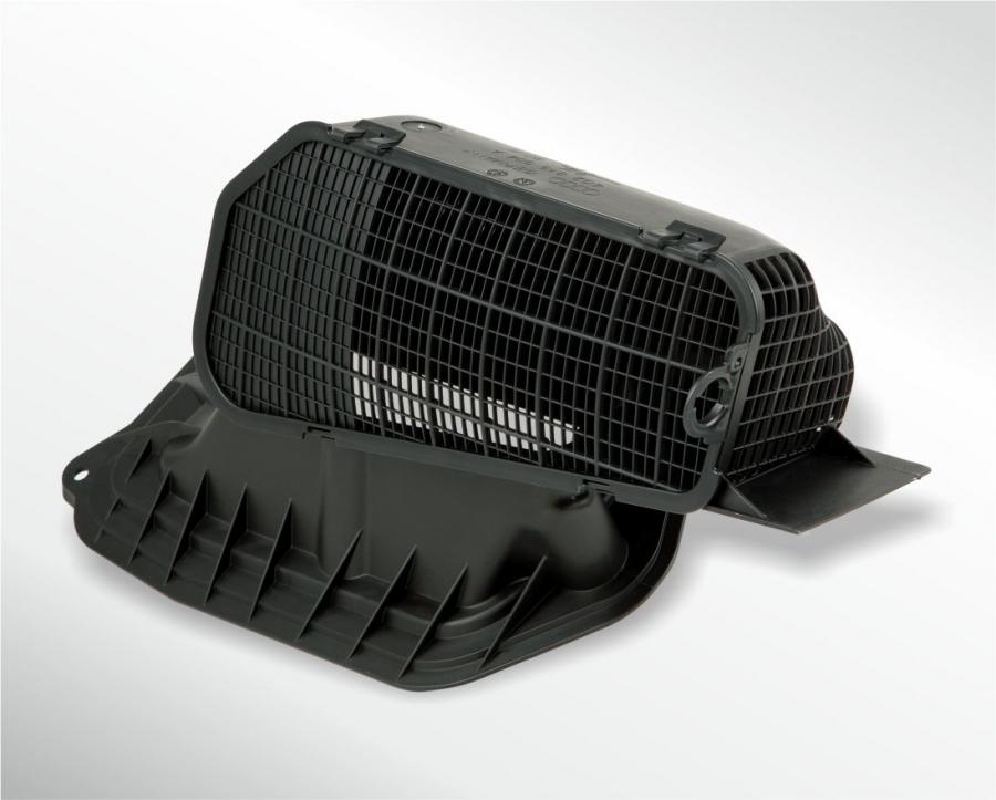 Luftansaugung Audi mit Laubschutzgitter  ( Zweikomponenten mit TPE 15 Shore in Core-Back-Technik)